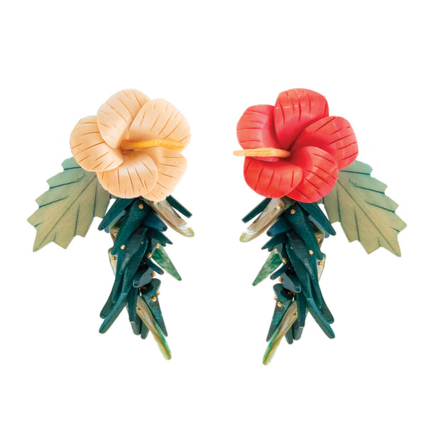 Tropical wood hibiscus flower earrings in pink and ivory with green leaves and coco sticks