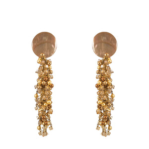 tropical earrings with mother of pearl tops and hanging Swarovski crystals and pearls in gold and champagne tones
