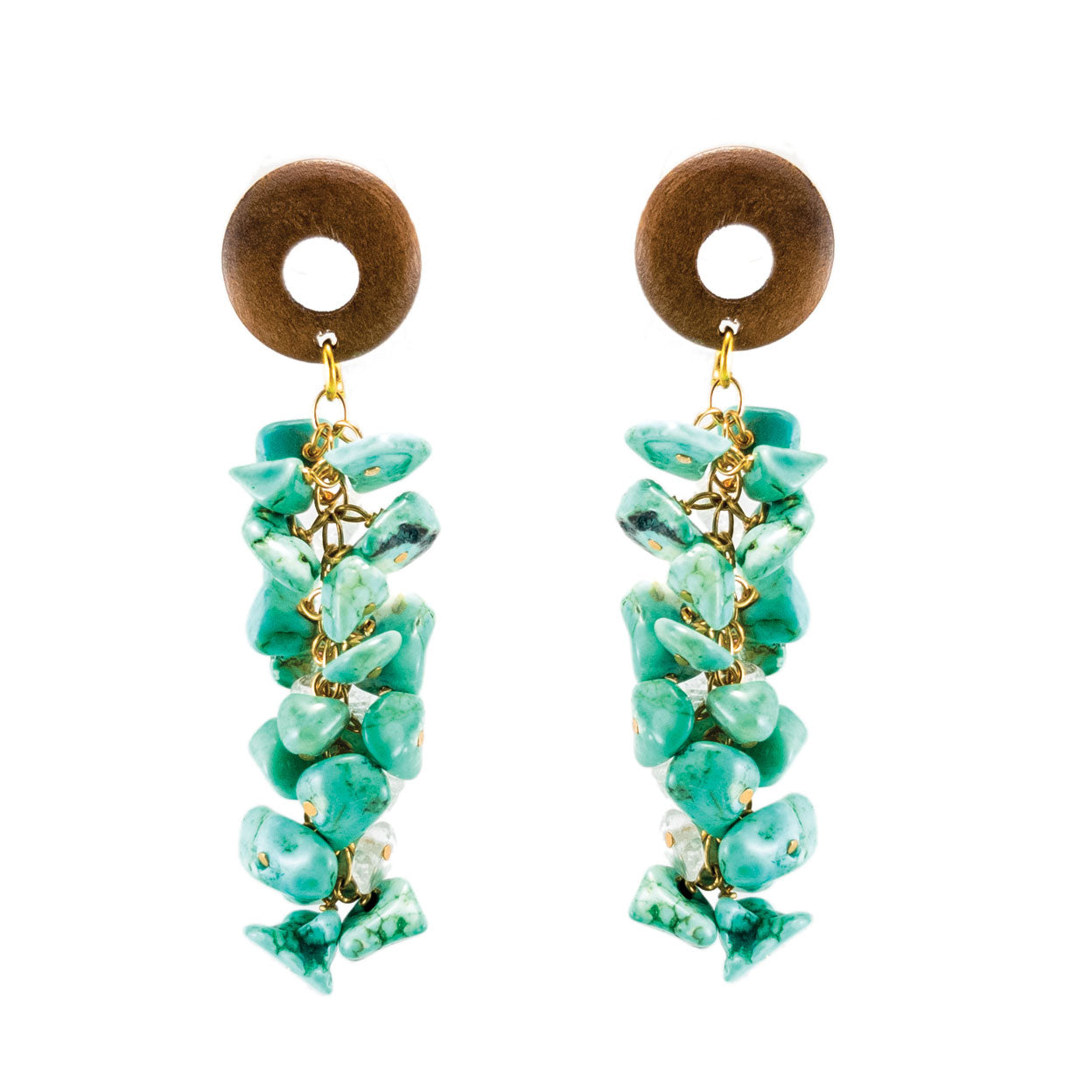 Tropical style earrings with hanging turquoise stones and wood tops