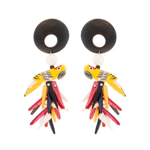 Tropical style earrings with yellow parrots, black wood and red, yellow and black coco sticks