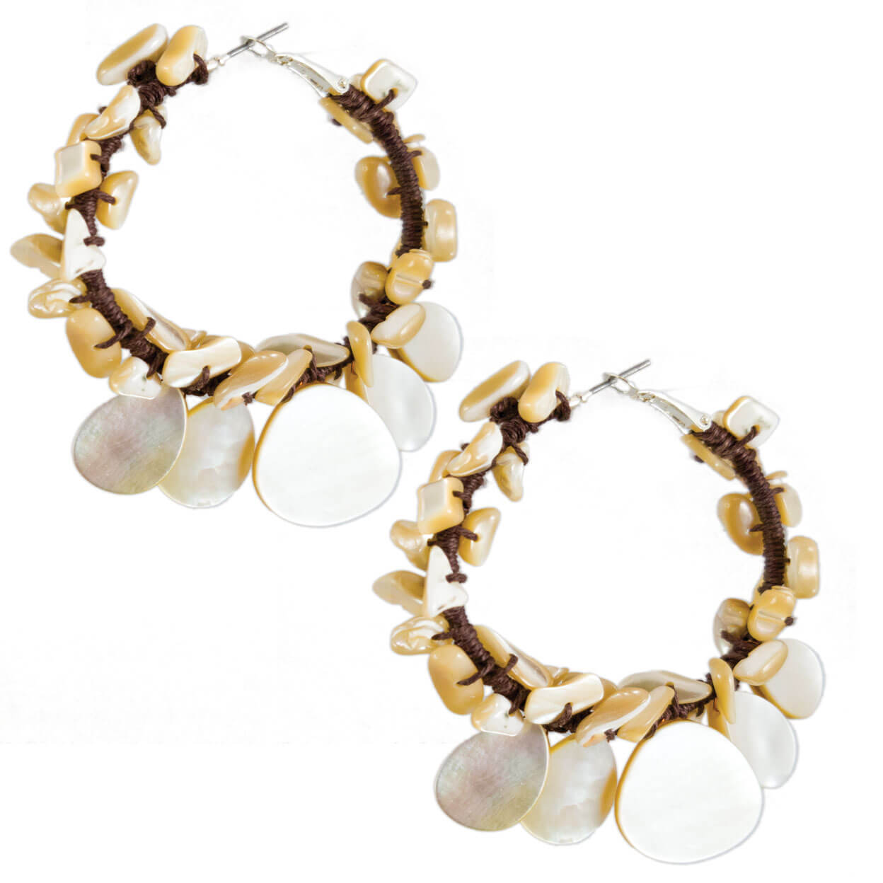 tropical style brown hemp hoops with mother of pearl chips and tears