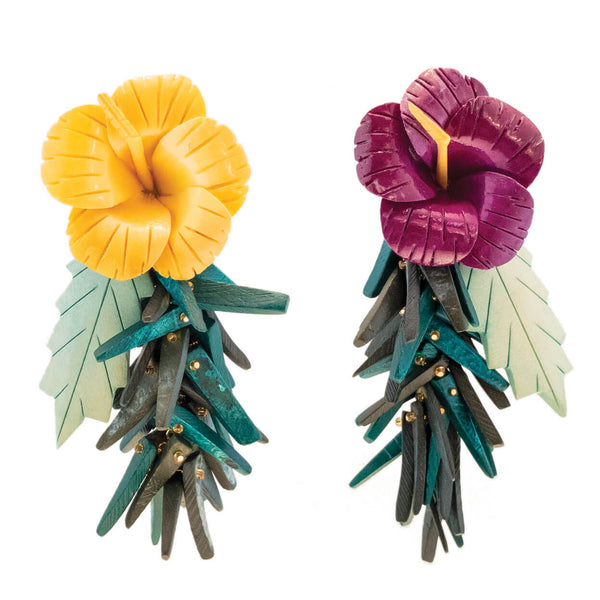 tropical style earrings, carved wood hibiscus flowers in purple and yellow with green carved leaves and green coco stick charm bottom