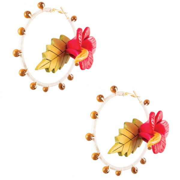 tropical style hoop earrings wrapped in sand color hemp with wood and pink vintage hibiscus flower centers
