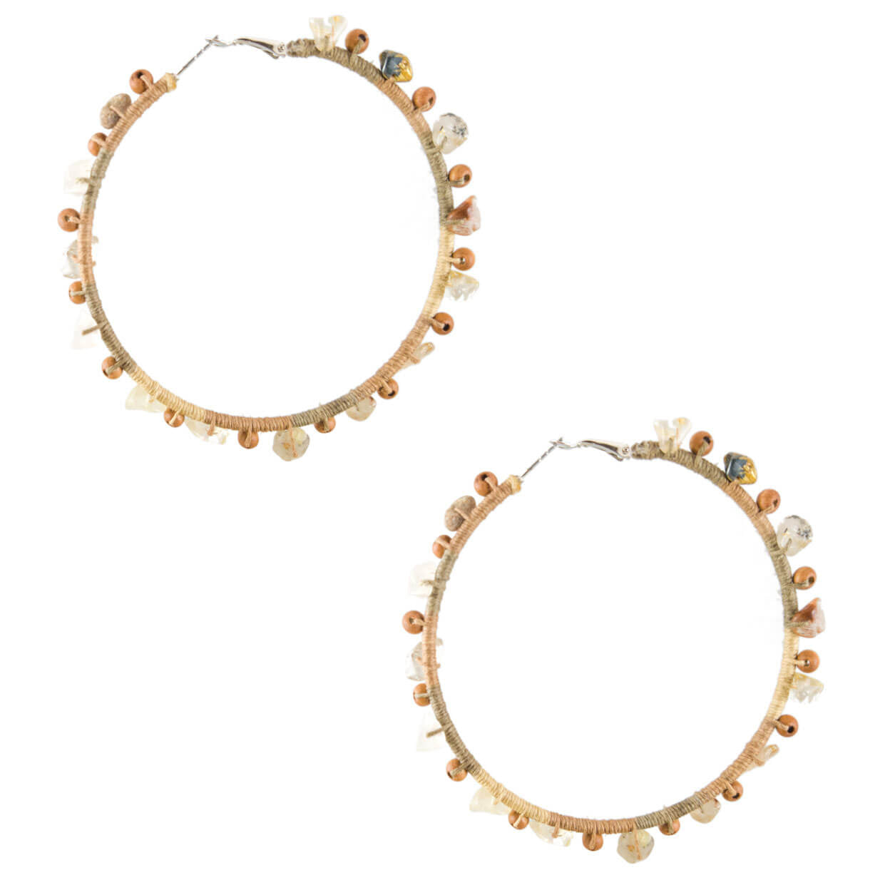 tropical beach style silver hoop earrings that are wrapped in ombre natural color hemp with wood and gemstones