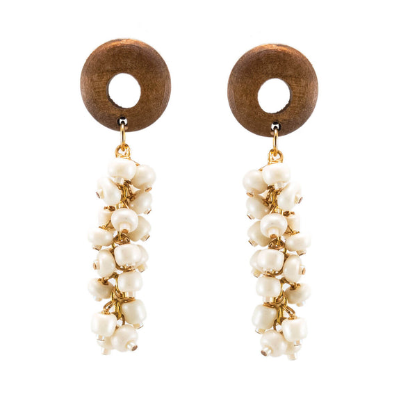 tropical style wood and ivory bone dangle earrings