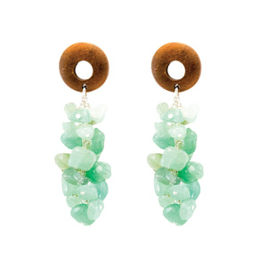 tropical style mint gemstone dangle earrings with wood top