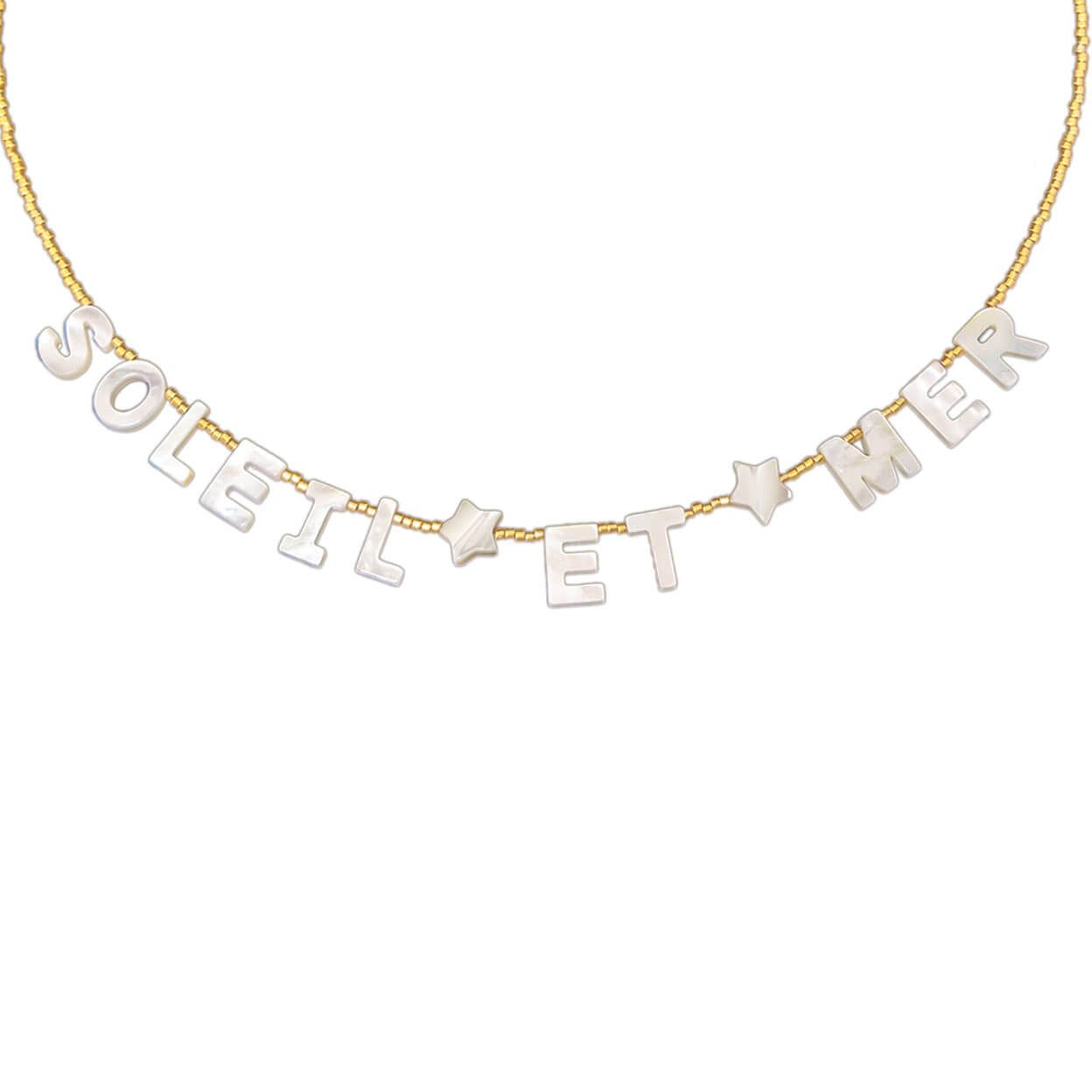 "tropical style necklace that reads ""soleil et mer"" in mother of pearl letters on seed bead strand"