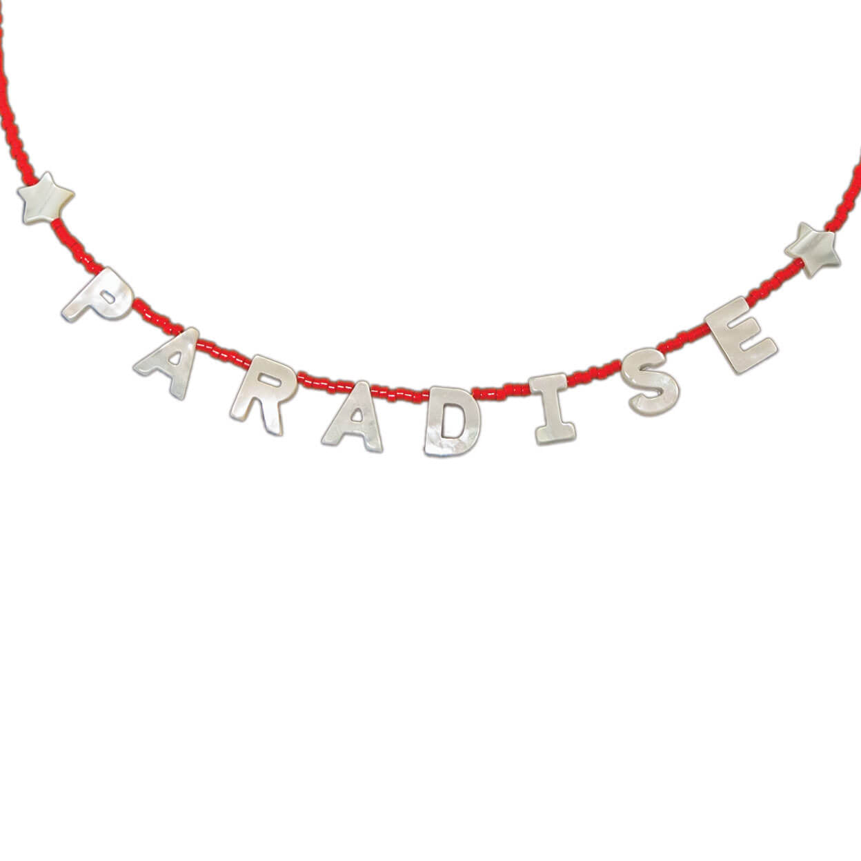 "Tropical style necklace that reads ""paradise"" in mother of pearl letters and seed bead strand"