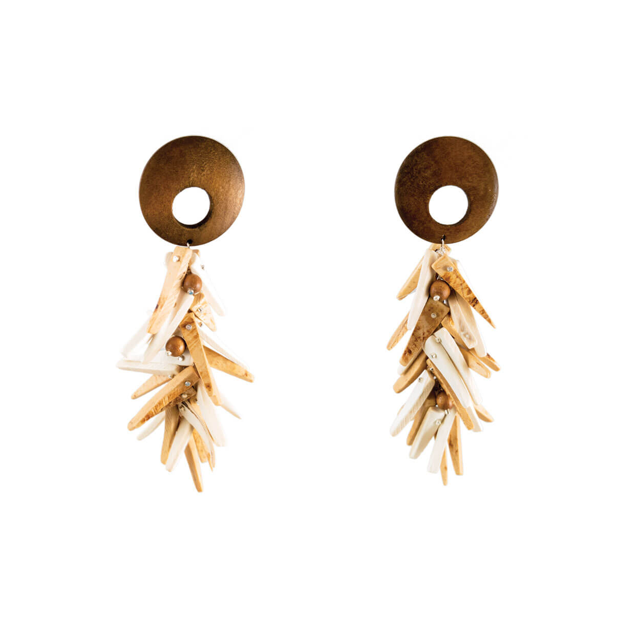 tropical beach style earrings with natural wood tops and coco stick charms that hang from silver chain