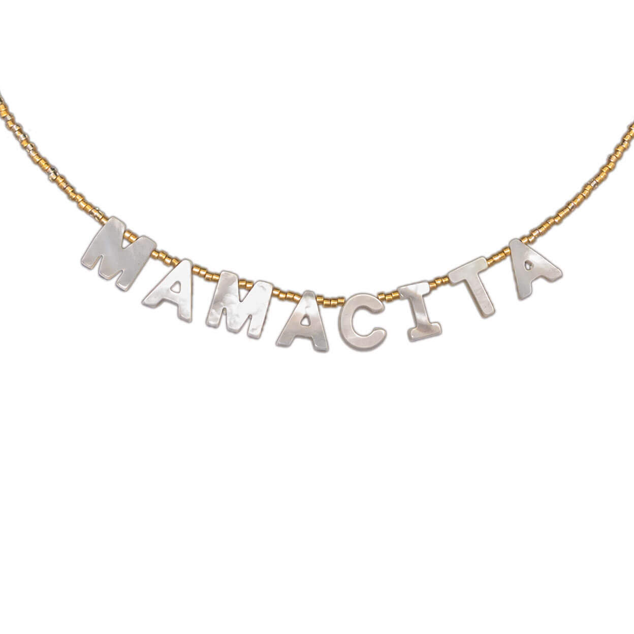 "tropical sty necklace that reads ""mamacita"" in mother of pearl letters on seed bead strand"