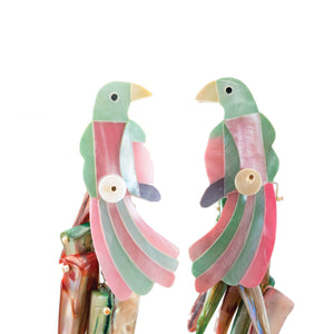 tropical mother of pearl parrot earrings in pink and mint