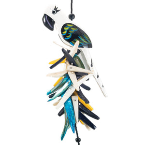 tropical vintage parrot necklace in black and white with coco stick and mother of pearl