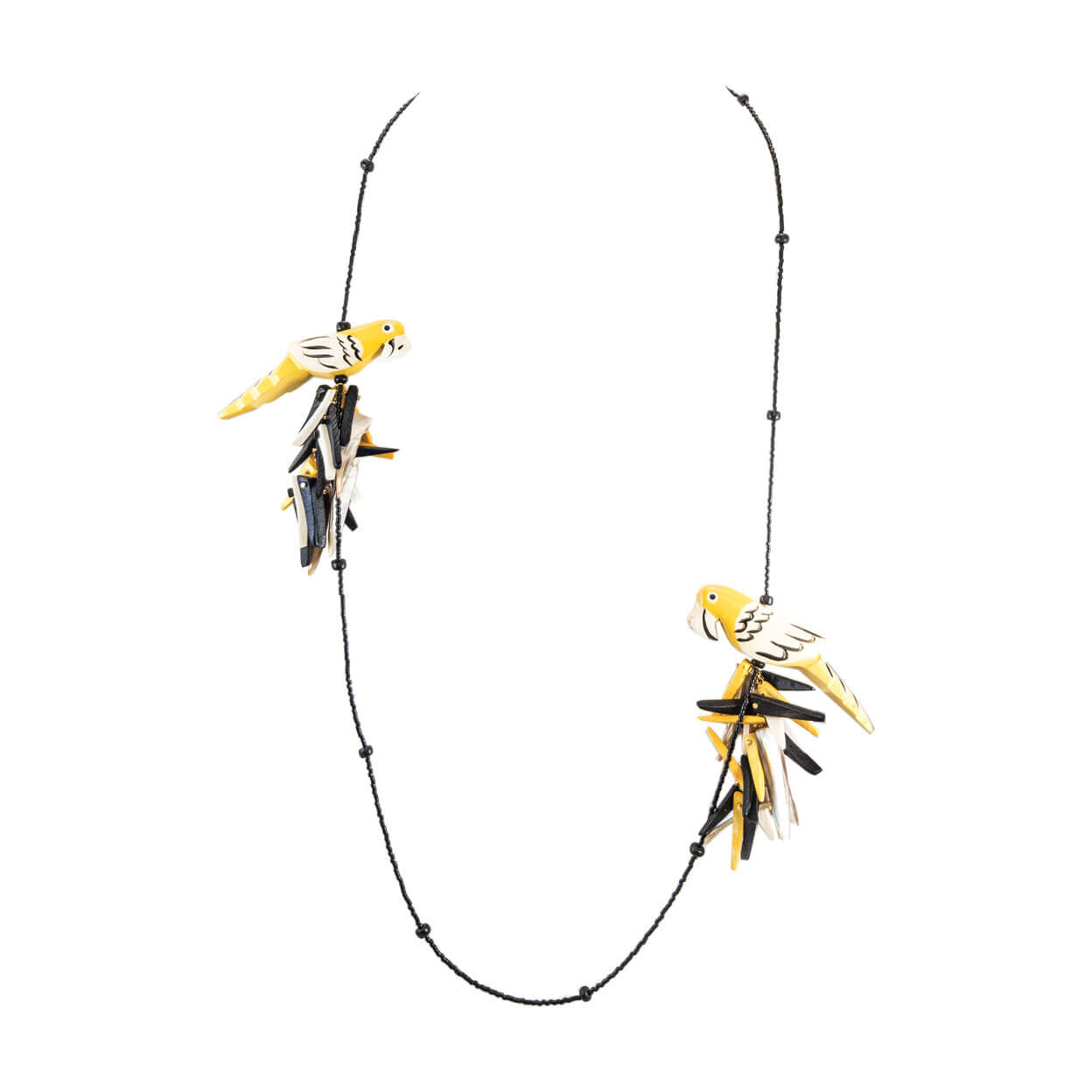 tropical style necklace with yellow & black parrots and black strand of beads