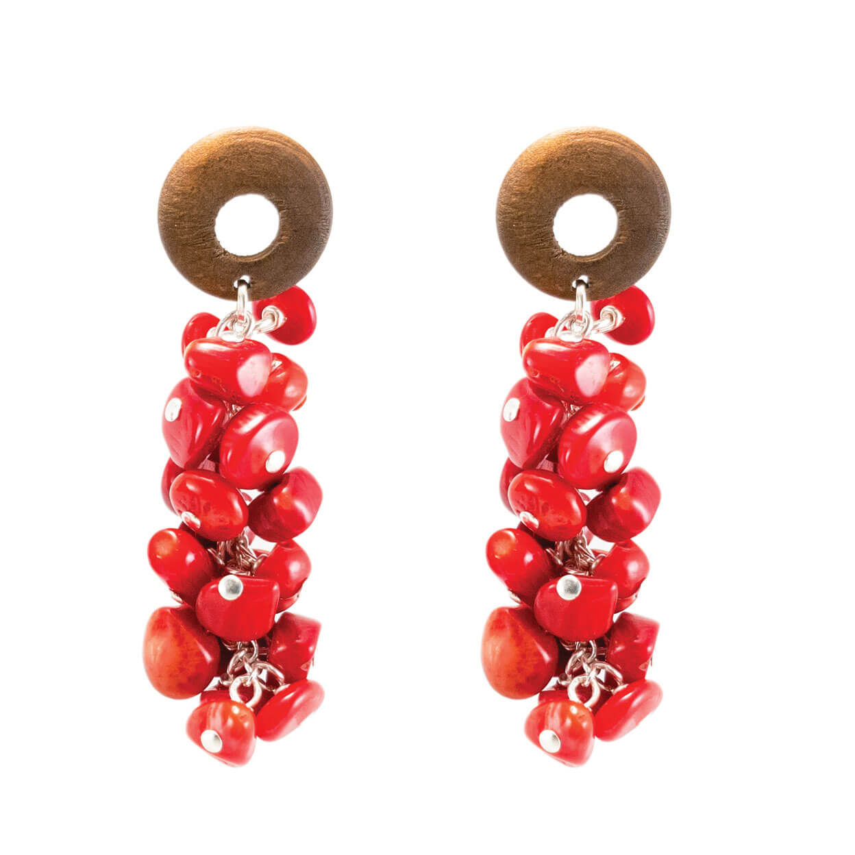 Tropical red coral and wood dangle earrings on silver chain
