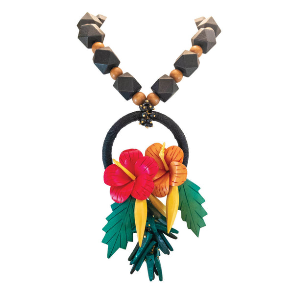 tropical necklace with two wood hibiscus flowers in red and orange with black hemp wrapped ring and green leaves on a strand of black and natural wood beads