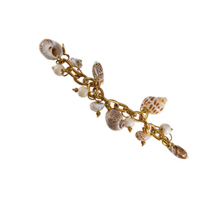 tropical gold link bracelet with shell and bone charms
