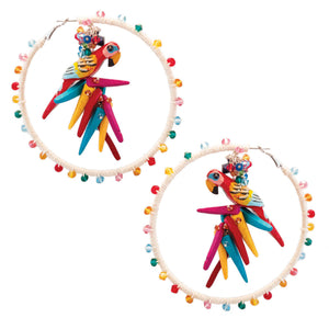 Tropical ivory hemp wrapped hoop earrings with rainbow color parrots and swarovski crystals with coco sticks