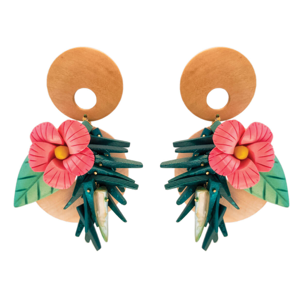 tropical style wood earrings, carved pink hibiscus flower with green coco sticks and mother of pearl