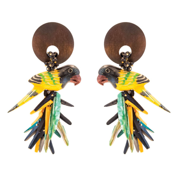 tropical style large wood carved parrot earrings in black, yellow and brown, with coco stick charm bottoms