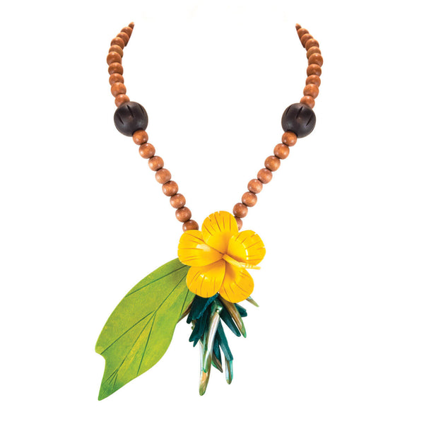 tropical necklace with yellow vintage hibiscus flower, large vintage green leaf, with wood and mother of pearl beads