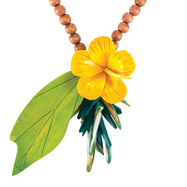 tropical style vintage yellow hibiscus flower necklace with vintage green leaf and natural wood beads and green mother of pearl accents