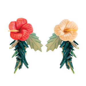 Tropical style earrings with ivory and pink hibiscus flowers and green leaves with coco sticks and mother of pearl