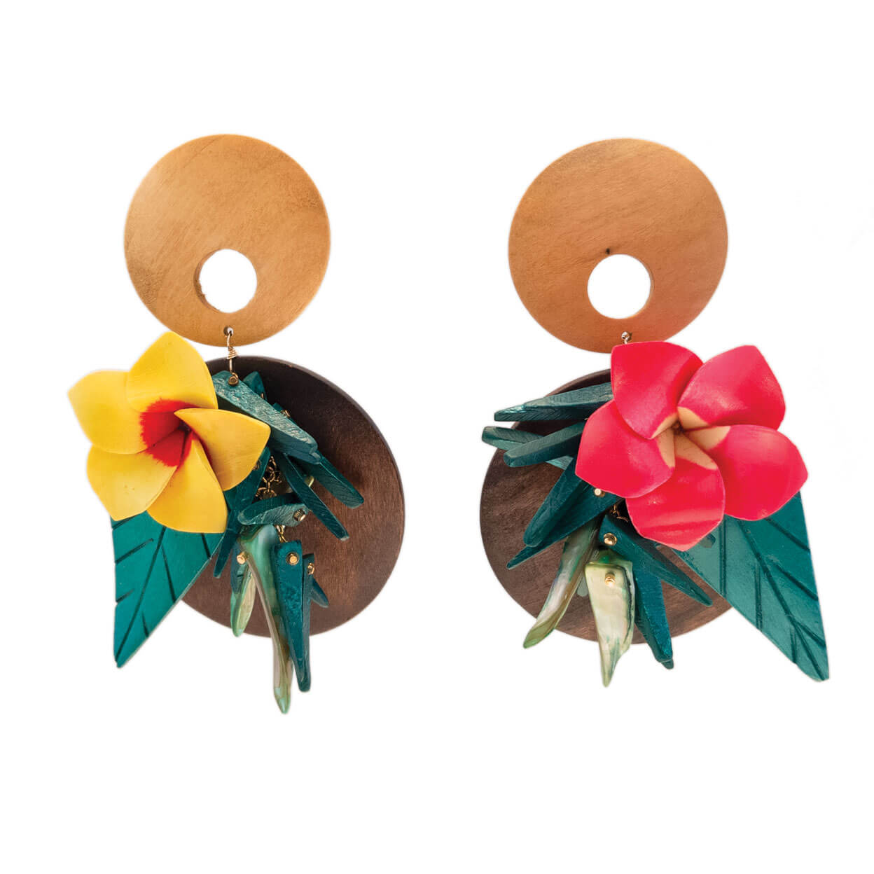 tropical style wood earrings with yellow and pink flowers and green leaves with coco sticks and mother of pearl