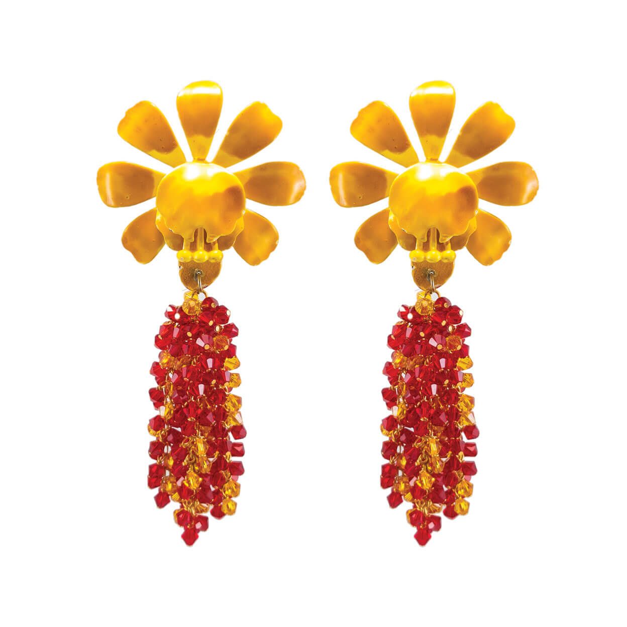 Tropical style gold postback earrings with red & yellow Swarovski crystals hanging from vintage yellow orchid flowers.