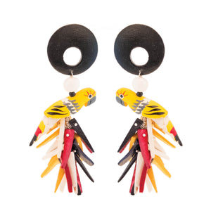 tropical yellow parrot earrings with black wood and red, yellow and black coco sticks