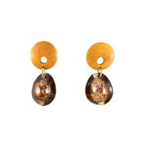 tropical wood earrings with brown seashell drops