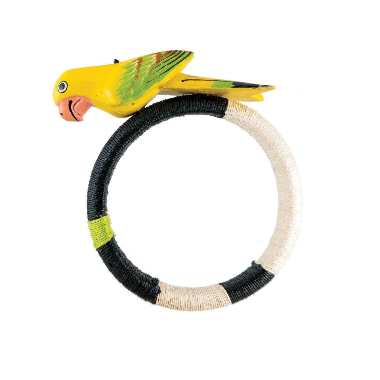 tropical style yellow parrot bracelet wrapped in black, ivory, lime hemp