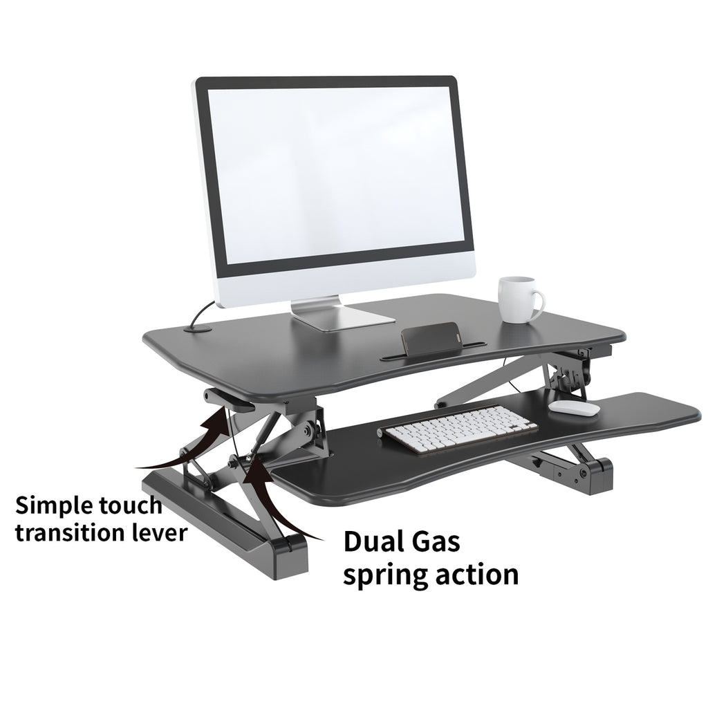 Ergonomic Sit to Stand Desk - Zeal Desk ZD002 - Height Adjustable Standing Desk (Black)