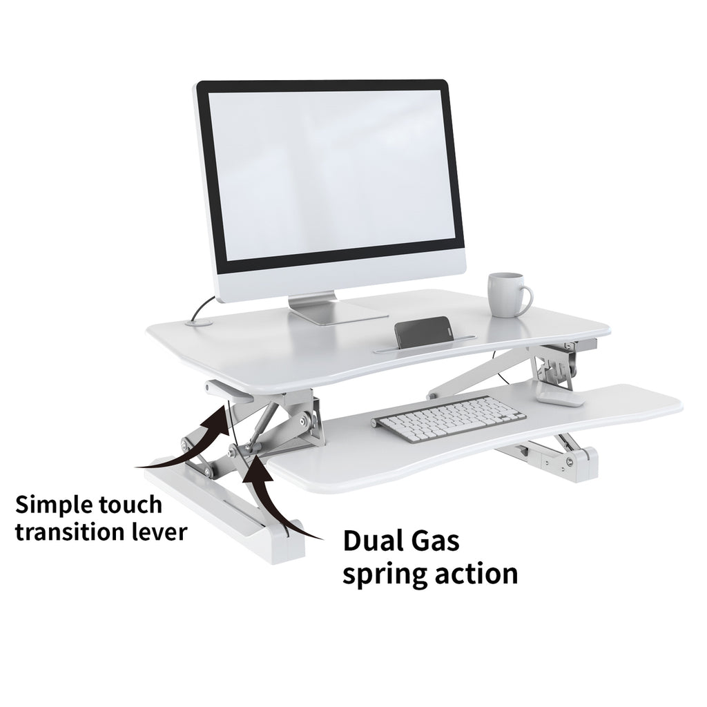 Ergonomic Sit to Stand Desk - Zeal Desk ZD001 - Height Adjustable Standing Desk (White)