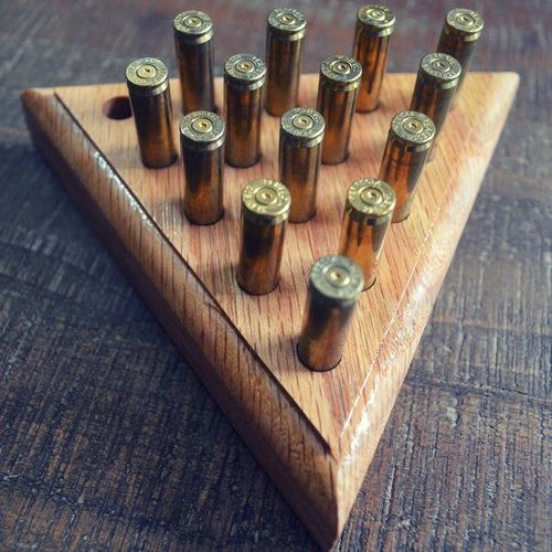 Peg Solitaire - Classic Style Board Game - Solid Oak with Re-Purposed .223 Ammo Casing Pegs | Seventh Fold Studio