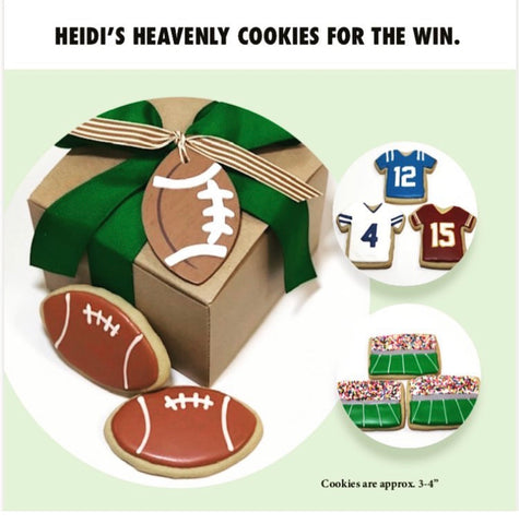 Custom decorated sports cookies for events.