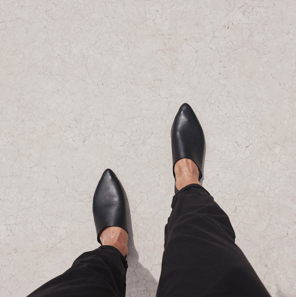 Point Toe Flat - Black Leather