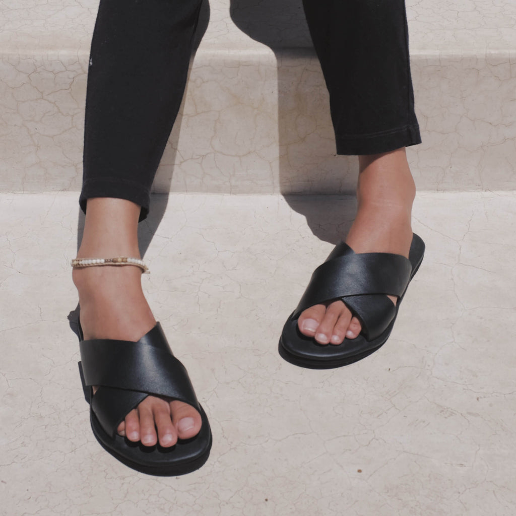 Crisscross Sandal - Black Leather