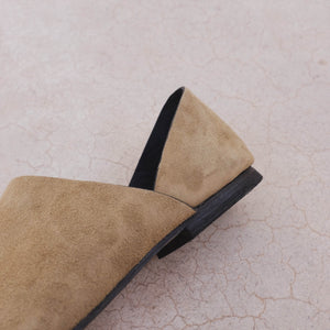 Point Toe Flat - Olive Suede