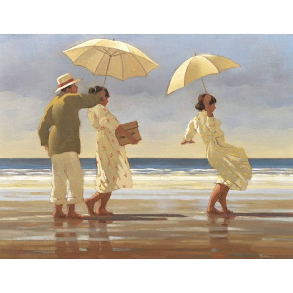 The Picnic Party by Jack Vettriano people on a beach