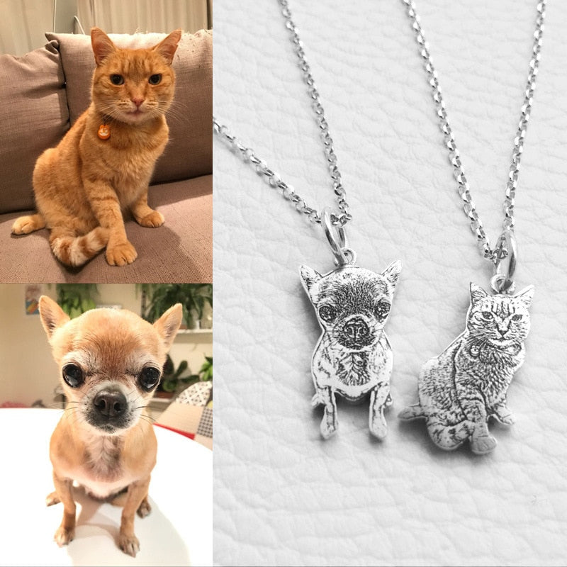 Image of 925 Sterling Silver Engraved Photo Necklace With Your Beloved Pet Best Memorable Gift