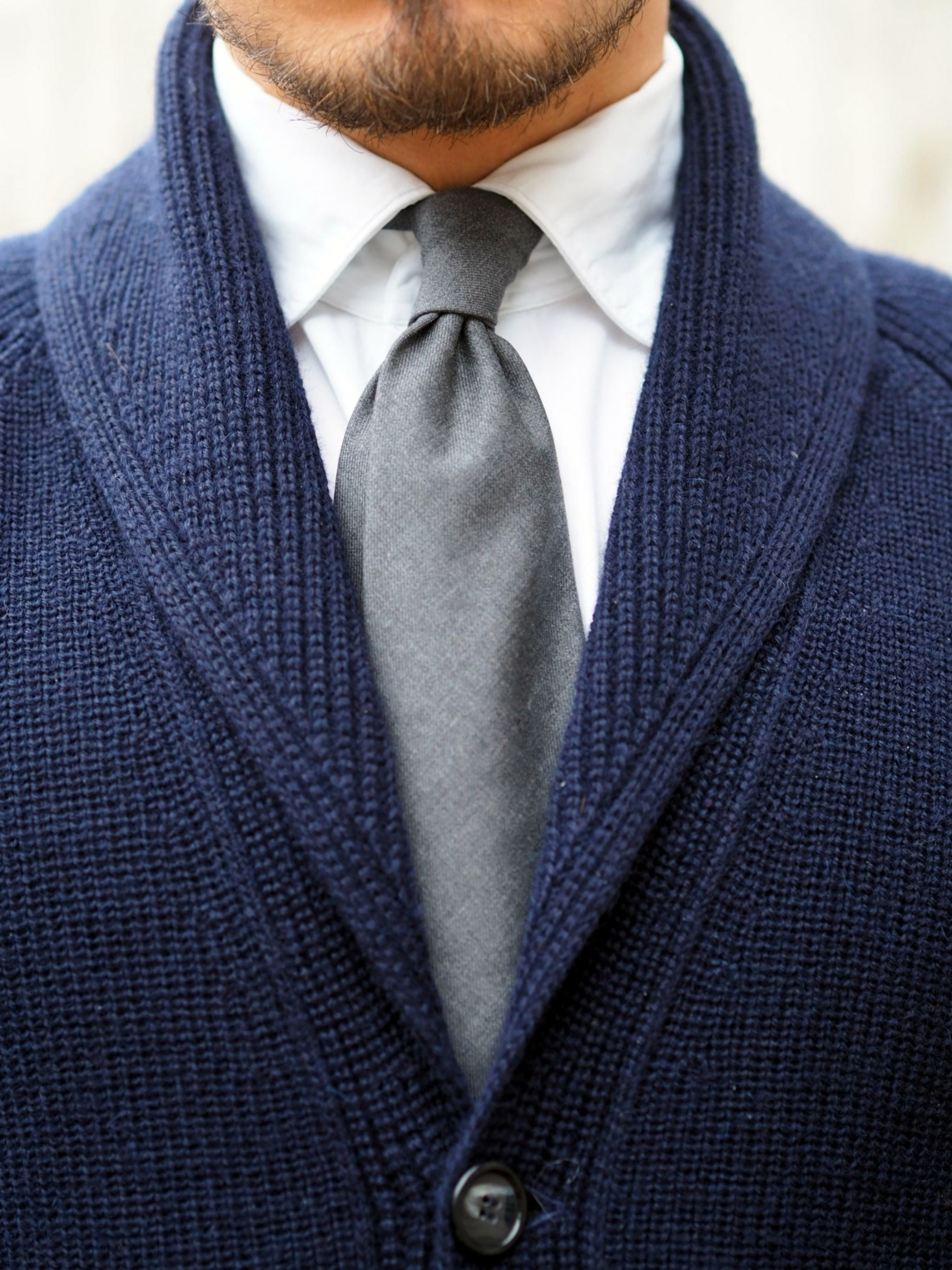 Alpa-blue-shawl-collar-cardigan-with-a-gray-wool-tie-details