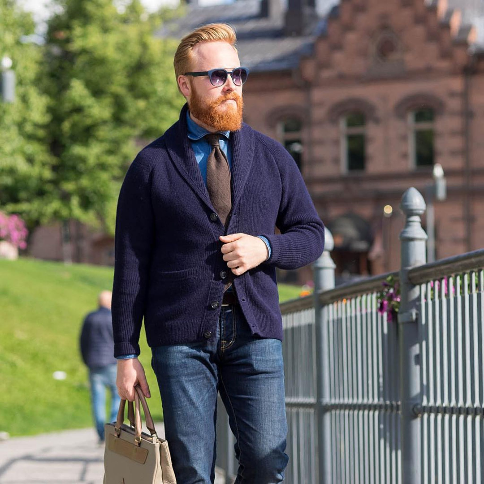 The blue Alpa shawl collar cardigan with DLA brown shantung tie and DLA denim shirt