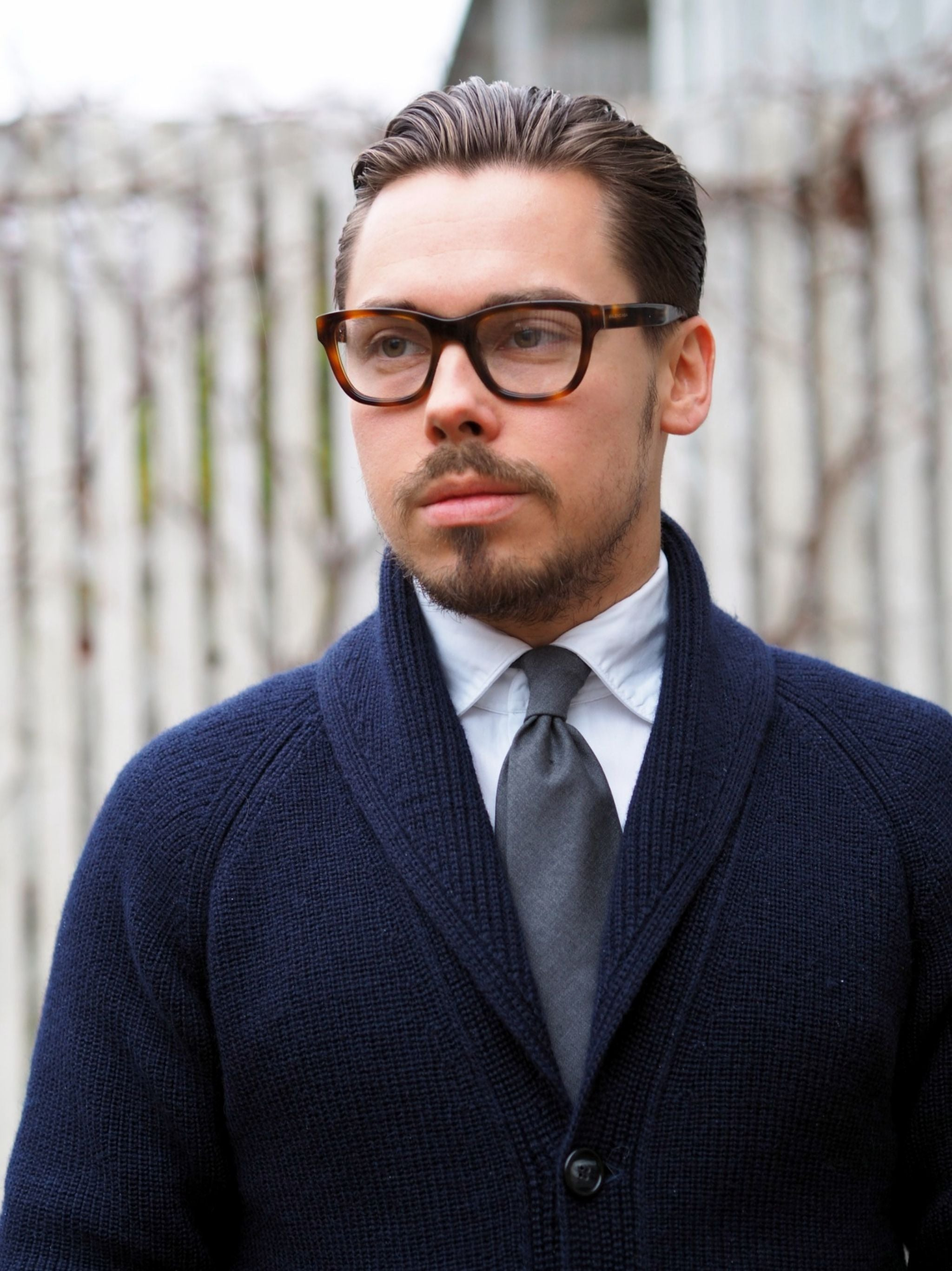 The blue shawl collar cardigan with white DLA oxford shirt and gray DLA wool tie