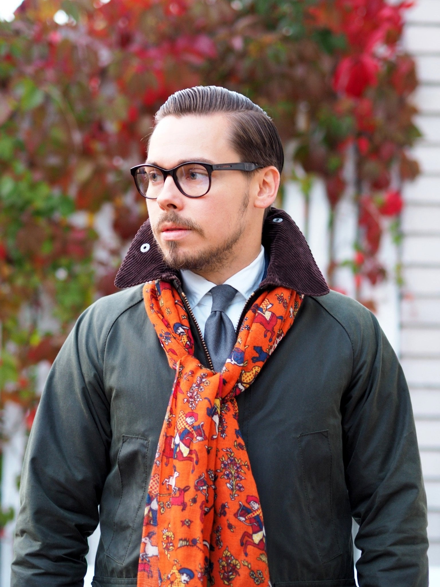 Autumnal business outfits - Barbour bedale SL jacket with drakes london scarf