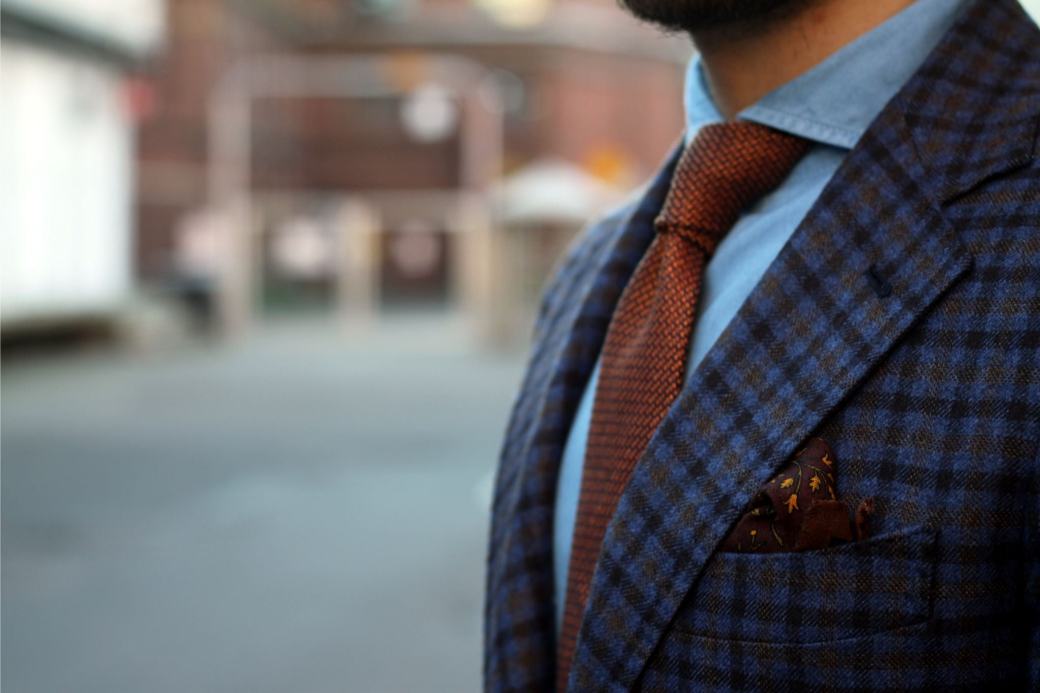 Berg&Berg orange tie with Drake's London pocket square