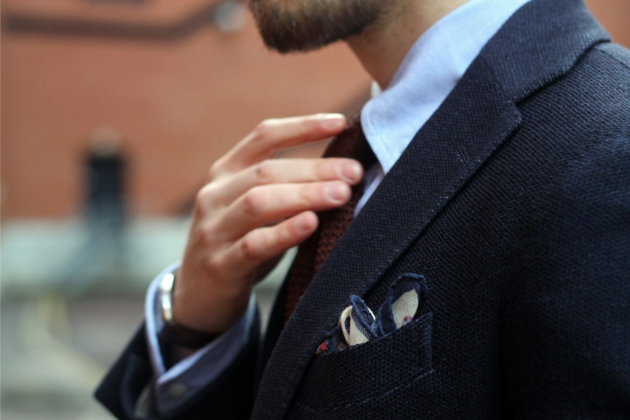 Blue jersey sport coat with corduroy trousers - pocket square details