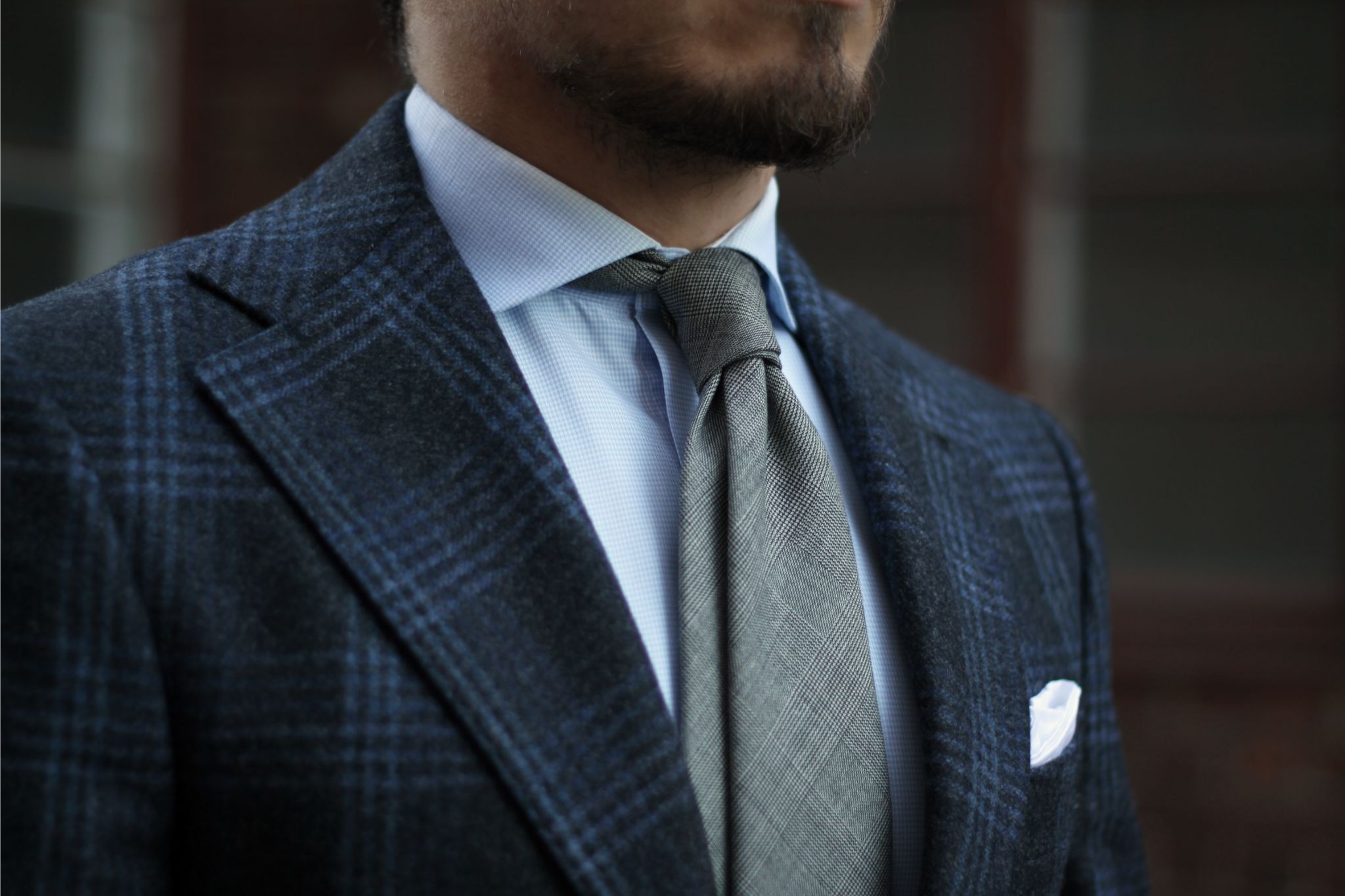 Berg&Berg wool tie with checked G.Abo Napoli suit