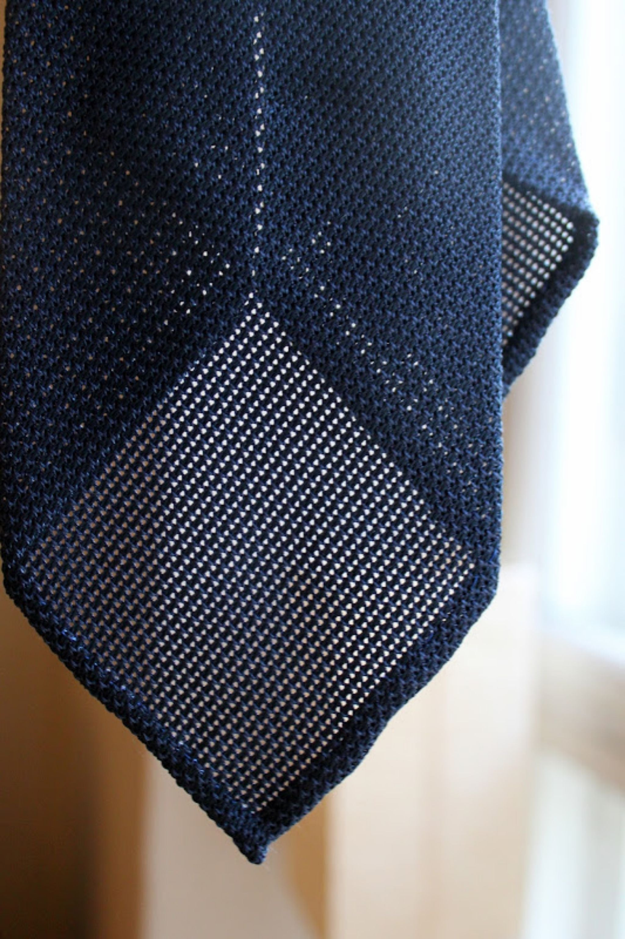 My new unlined navy blue grenadine Bespoke tie in detail