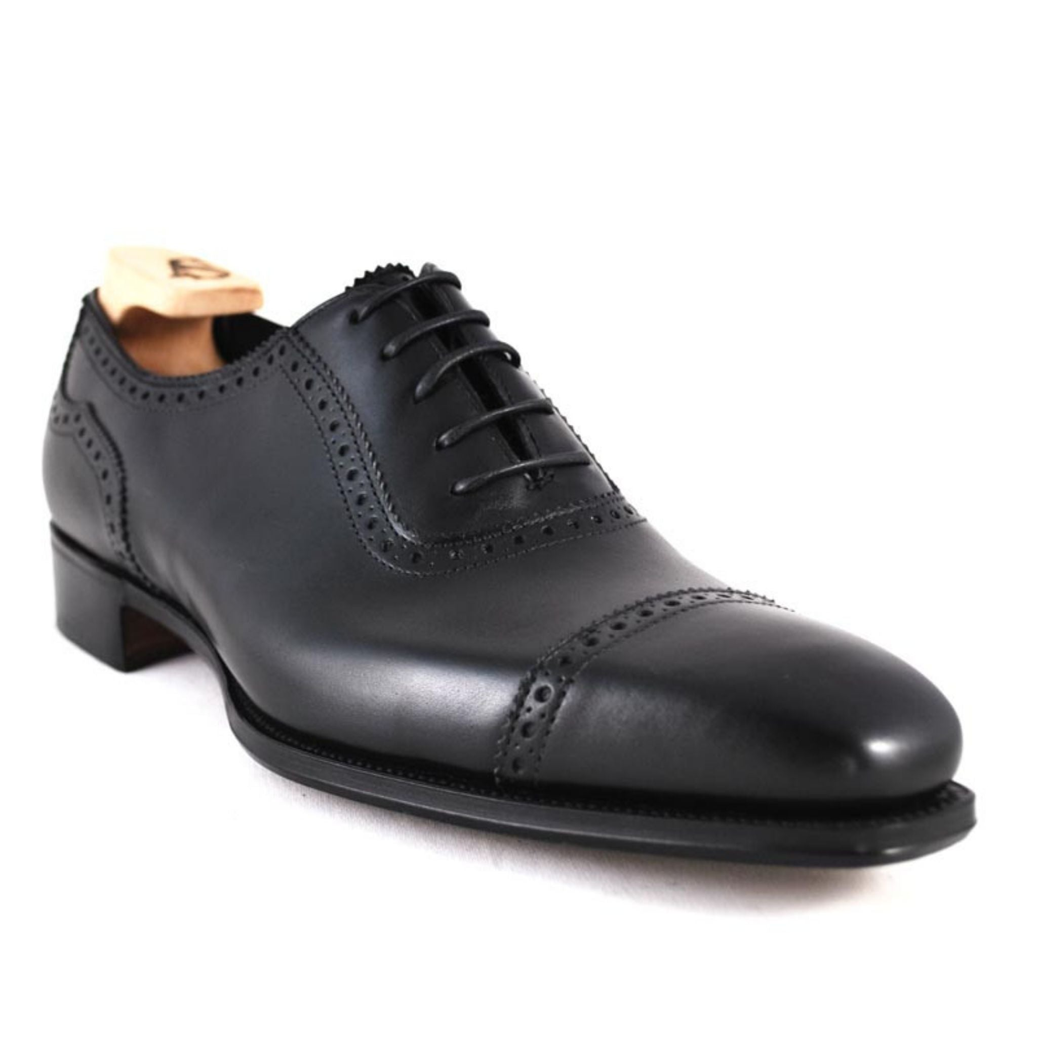 Black cap toe oxfords - Alfred Sargent Moore