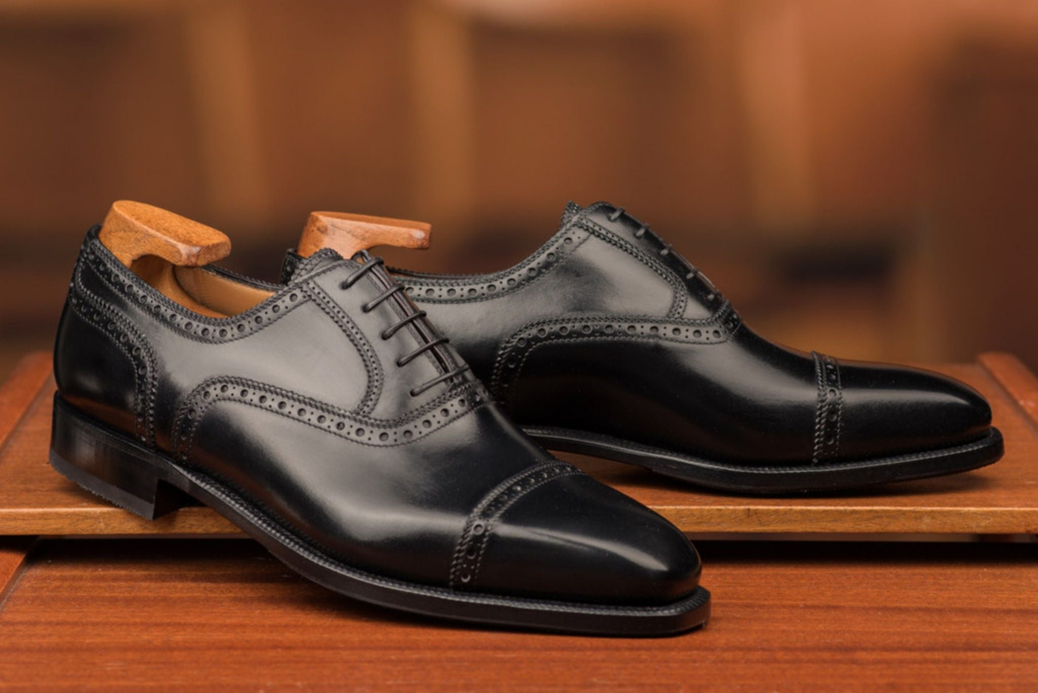Black cap toe oxfords - Enzo Bonafe skoaktiebolaget